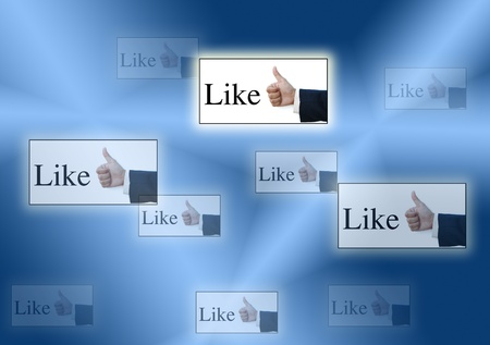 art work for like button from real hand  nice background Stock Photo - 9787905