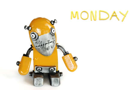 color of day in one week  with modern robot Stock Photo - 9787923