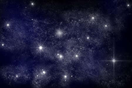 milky way galaxy: art work of galaxy on dark blue background Stock Photo