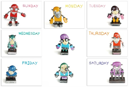funny robot: color of day in one week  with modern robot