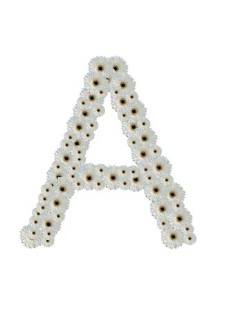 letter A white flower fonts isolated on white background photo