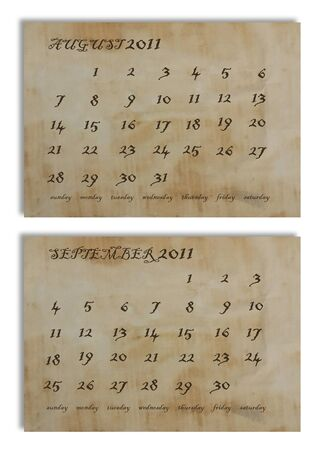august and september 2011 calendar on old paper Stock Photo - 9920601