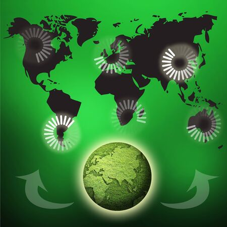 clic: art work of loading concept around the world in green background Stock Photo