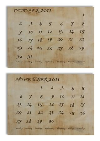 October and November 2011 calendar on old paper background photo
