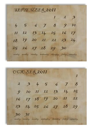 September and October 2011 calendar on old paper background Stock Photo - 9920604