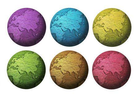art work of six colorful globe  isolated on white background Stock Photo - 9920456