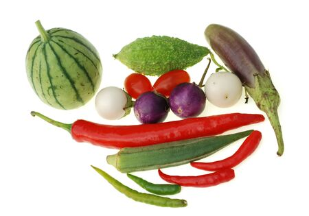 group of raw vegetable isolated on white background photo
