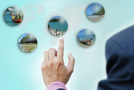 art work of concepts hand of business man travel selection photo