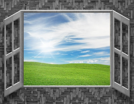 a window on the world: art work of concepts nature outside the window Stock Photo