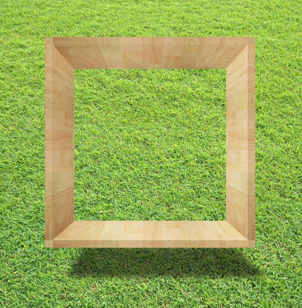 art work of wooden blank box on grass field Stock Photo - 9920799