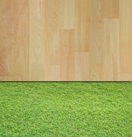 art work of two different background wood and grass Stock Photo - 9920466
