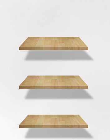 set of blank shelf on the white wall Stock Photo - 9921475