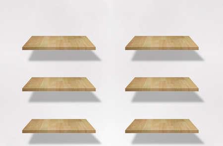 set of blank shelf on the white wall Stock Photo - 9921477