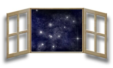 windowsill: art work of wood window on white wall with outer space background