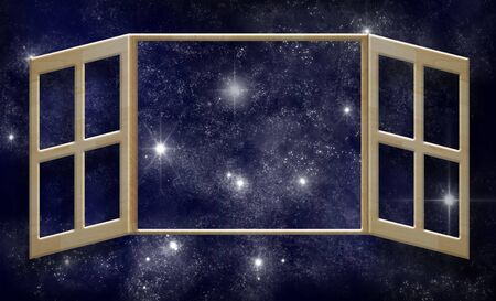 art work of wood window on white wall with outer space background photo