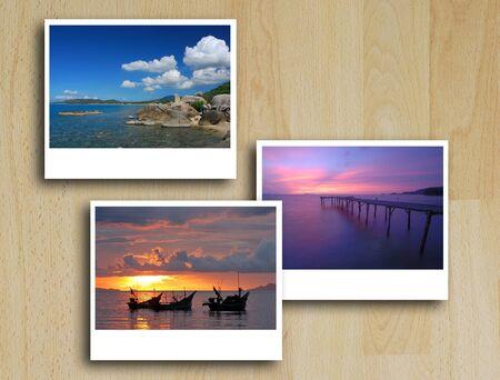 art work of photo frame on texture photo