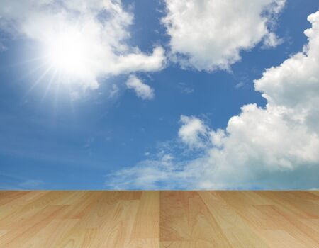 art work of old wood floor with bright shinny sky photo
