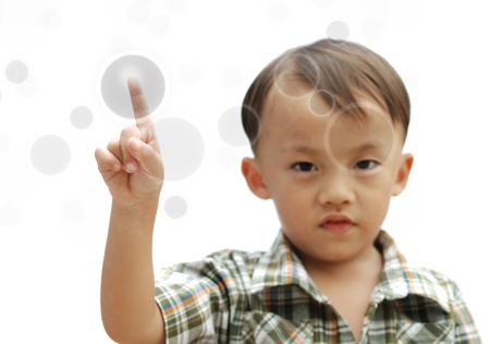 cute young asian boy isolated on white background Stock Photo - 10058380
