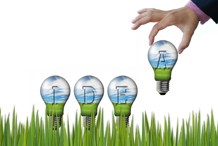 art work of wordind concepts from nature background in the light bulb Stock Photo - 9921625