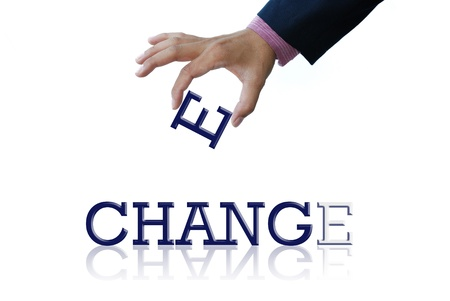 change concept: Arte trabajar de la mano de negocio con la palabra Foto de archivo