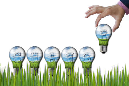 art work of wording concepts from nature background in the light bulb photo