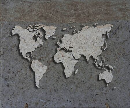 mulberry paper: art work of world map made from papaer texture