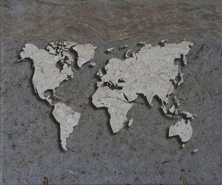 wall maps: obra de arte del mundo mapa de textura papaer Foto de archivo