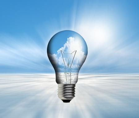art work of landscape in the light bulb Stock Photo