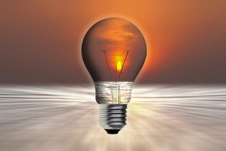 art work of landscape in the light bulb photo