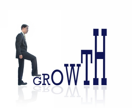 asian business man: asian business man step up on word growth