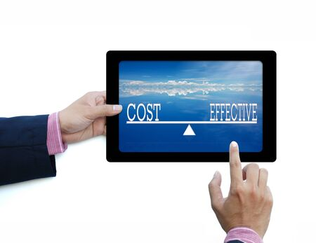 business word in tablet computer on white back ground photo