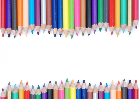 abstract background of color pencil on white background Stock Photo