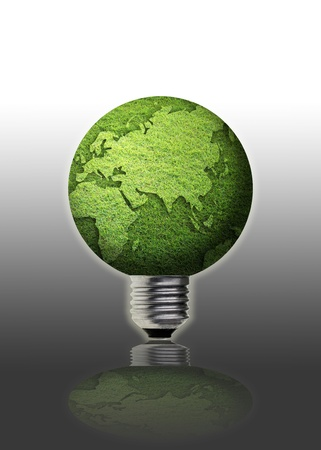 art work of grass globe with light bulb. photo