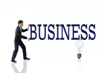 art work of business idea with businessman with wording. Stock Photo - 10058558