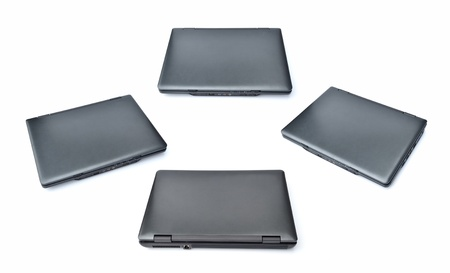 four views of note book computer on white background. Stock Photo - 10058523
