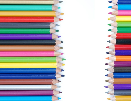 abstract background from row of color pencil on white. Stock Photo - 10058431