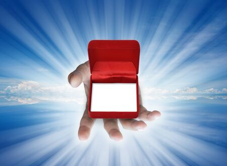 emoty red box in human hand for give idea. Stock Photo - 10058417