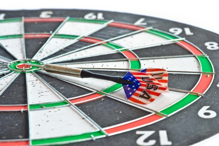 close up an old condition of dart game on white background. photo