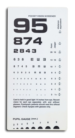 close uo of near vision card test on white background. Stock Photo - 10213240