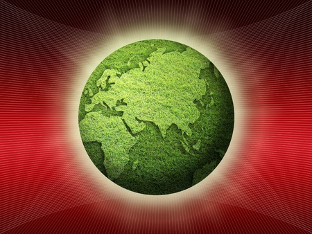 shinning grass globe on red attractive background. photo