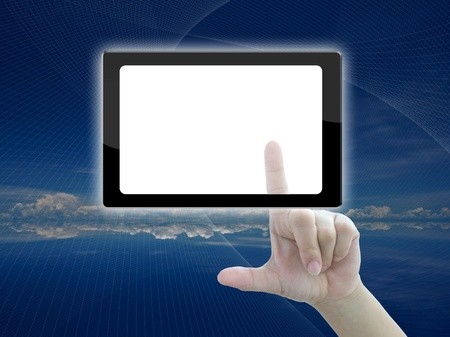 high technology touch screen of business idea. photo