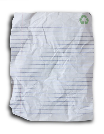 crumpled paper: blank recycle paper isolated on white background.
