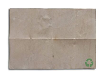 single old recycle paper on white background. photo