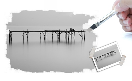 illustration of landscape picture with paintbrush. Stock Illustration - 10322265