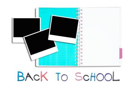 artwork of notepad and blank photo frame on white nackground. Stock Photo - 10356325