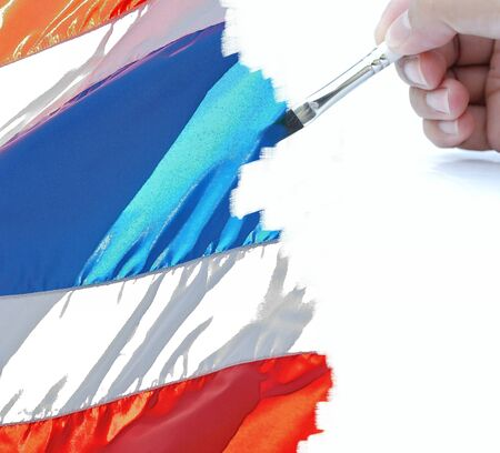 artwork of painting with the thai flag. photo