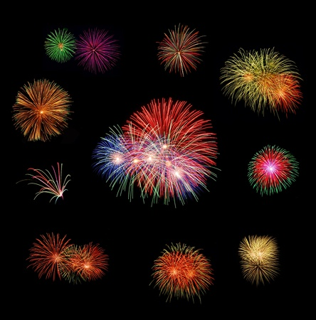 set of fire works with thw clear dark background. photo