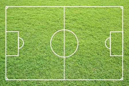soccerfield: voetbalveld vorm groen gras textuur. Stockfoto