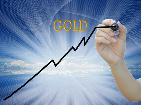 an idea of gold investment graph on attractive background. photo