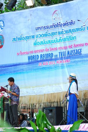simultaneous: KO SAMUI, THAILAND - AUGUST 25: World record of Thailand spa at ko samui  on August 25,2011  in Ko Samui island, Thailand. There are 250 therapist simultaneous massages for world record. Editorial